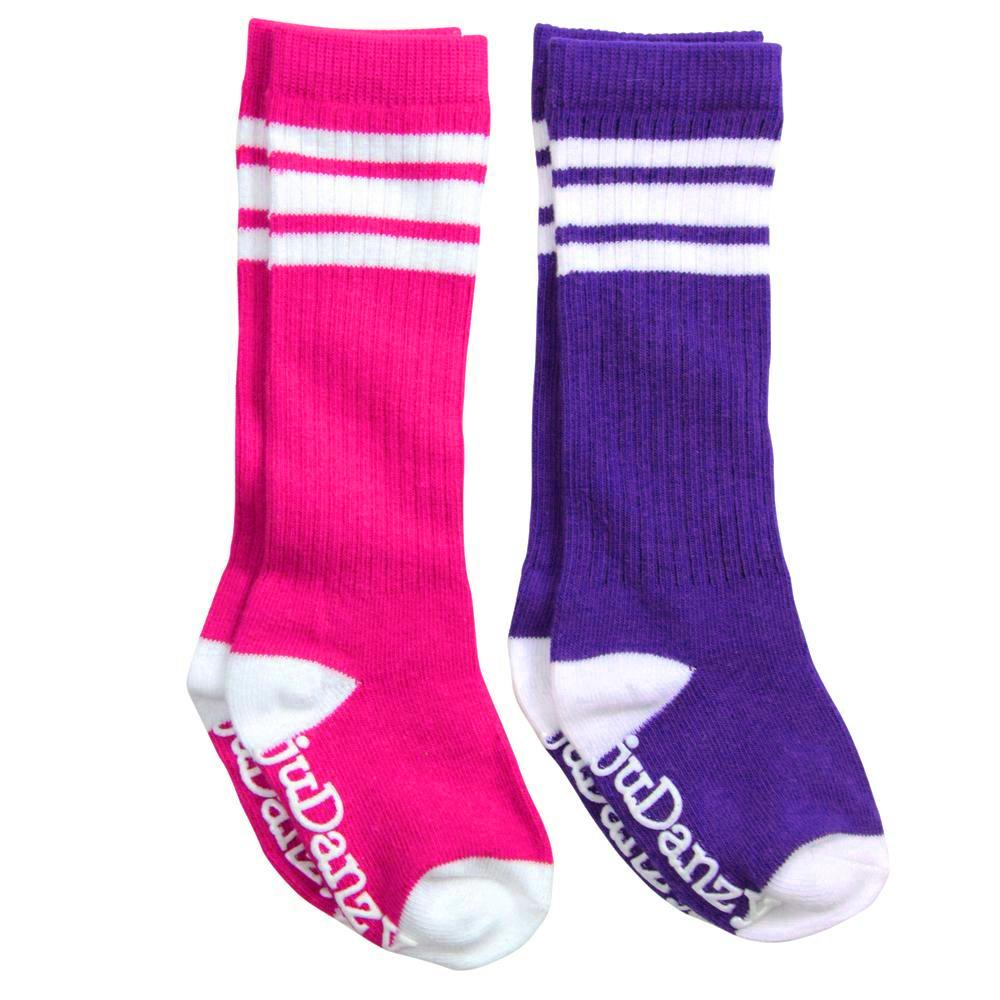Hot Pink and Purple with White Stripes Tube Socks