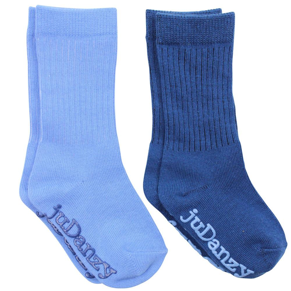 Light Blue and Navy Mid-Calf Socks