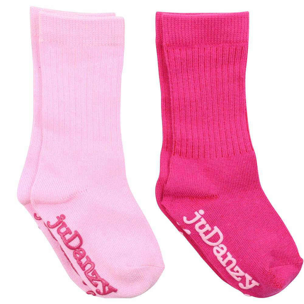 Light Pink and Hot Pink Mid-Calf Socks