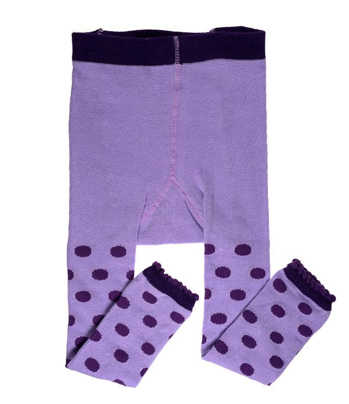 Purple Polka Dot Footless Tights