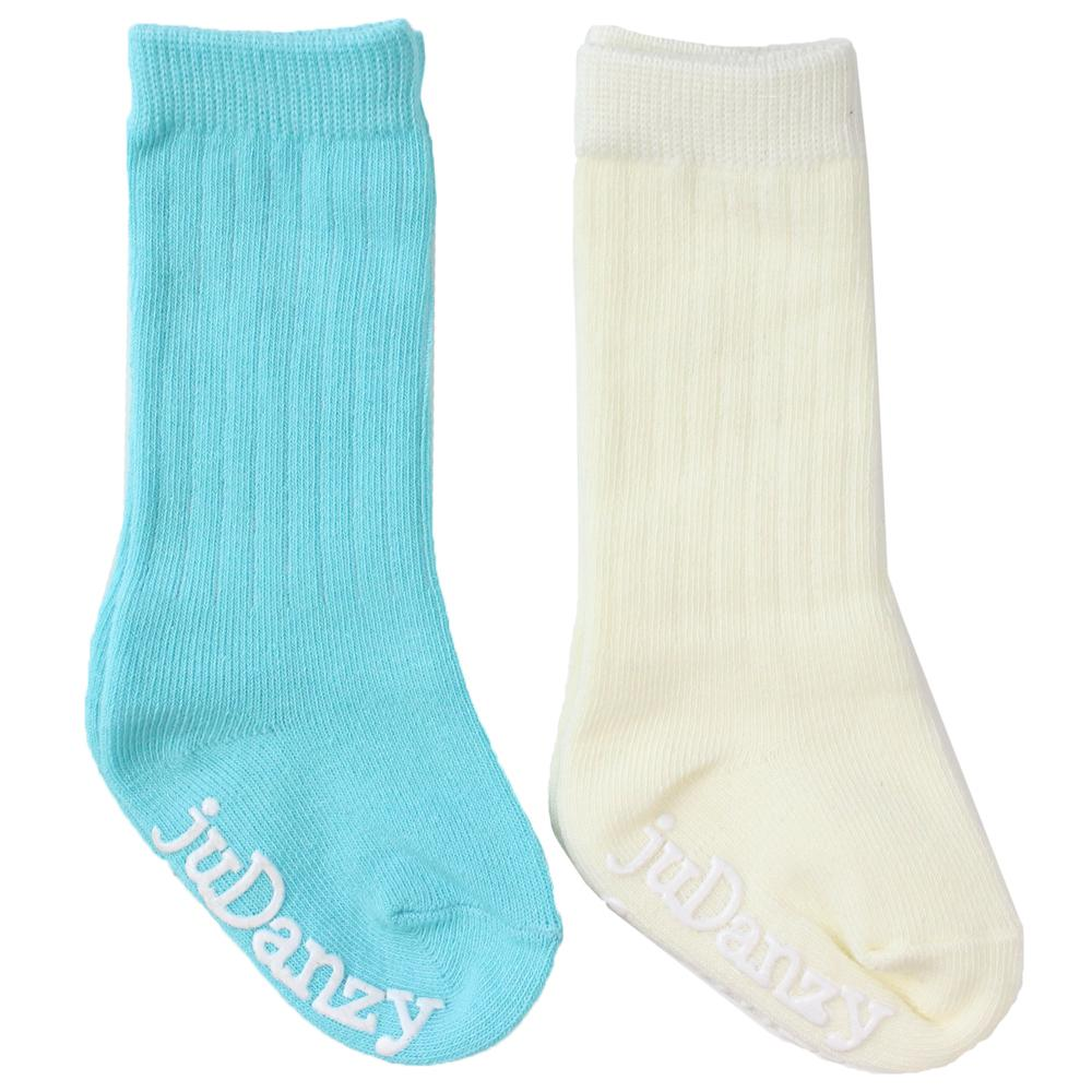 Turquoise and Cream Mid Calf Socks
