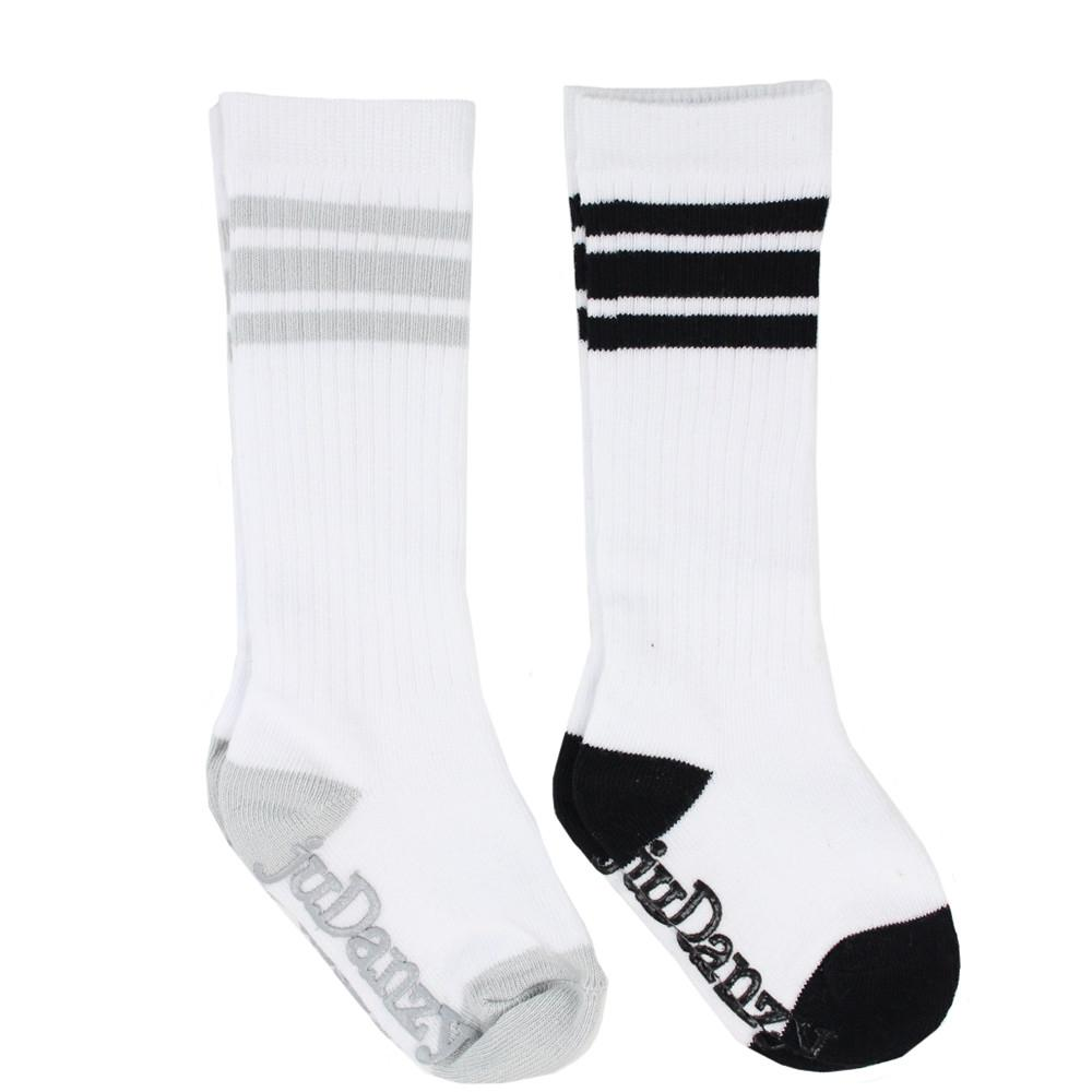 White with Gray and Black Stripes Tube Socks