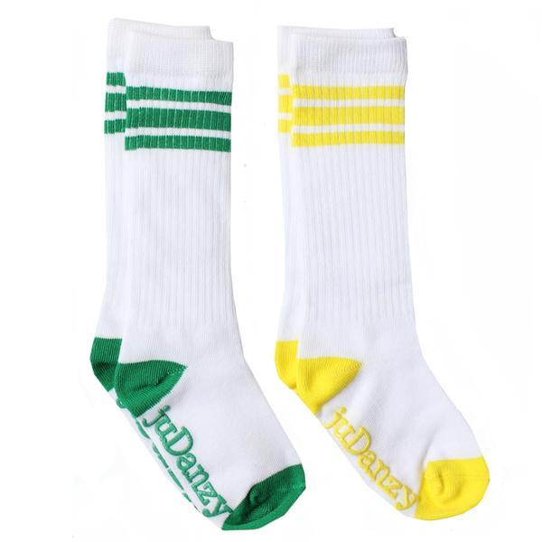 White with Green and Yellow Stripes Tube Socks