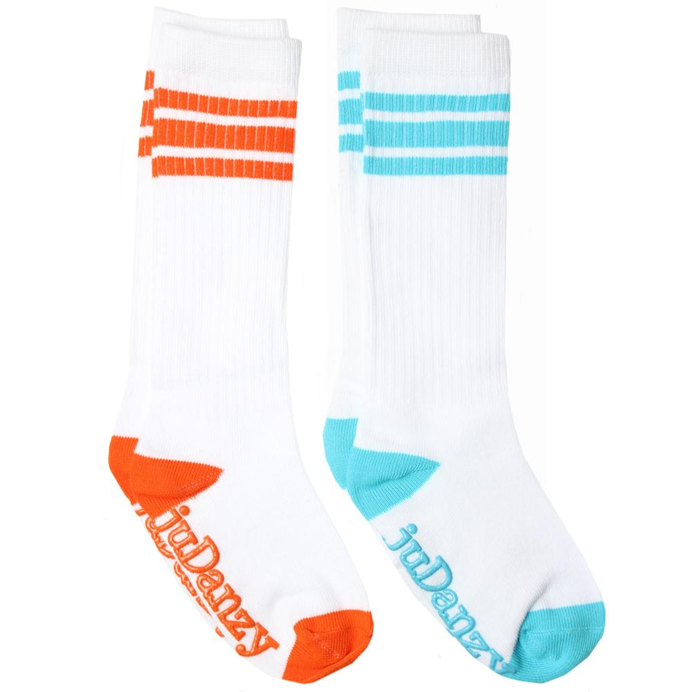 White with Orange and Turquoise Stripes Tube Socks