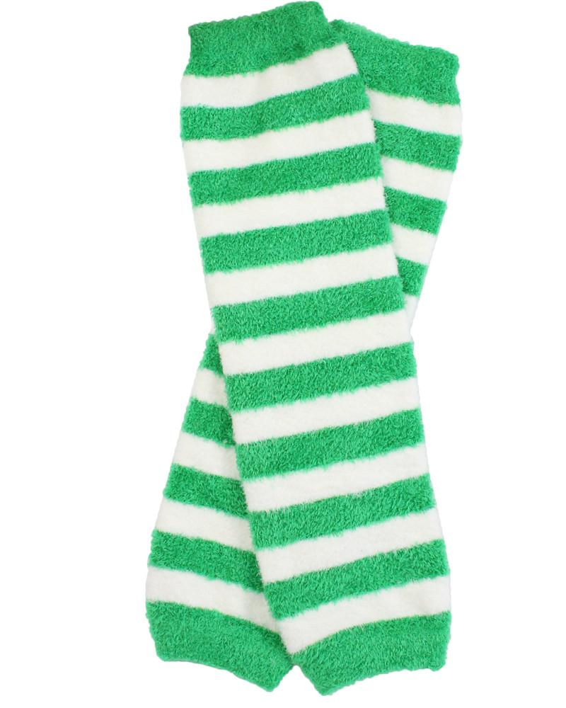 Cozy Green and White Stripe Leg Warmers