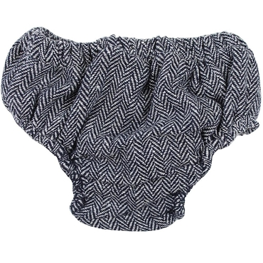 Gray and Navy Tweed Diaper Cover