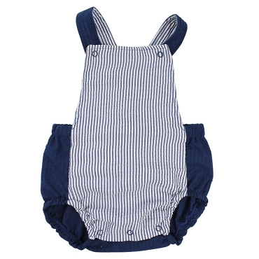 Navy Blue Pinstripe Cross Back Romper