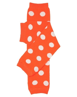 Orange with White Polka Dots
