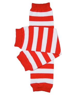 Red and White Stripe Leg Warmers