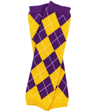 Team Purple and Gold Argyle Leg Warmers