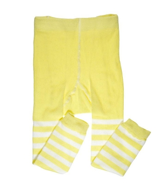 Yellow and White Stripe Footless Tights
