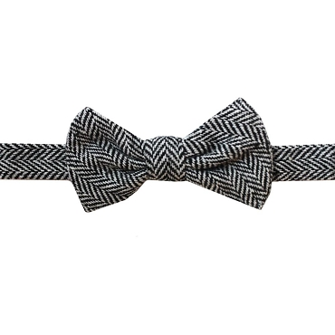 Black & Gray Tweed Bow Tie