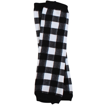 Black & White Buffalo Plaid Leg Warmers