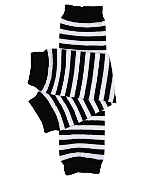 Black and White Stripe Leg Warmers