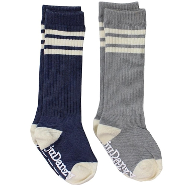 Dusty Blue and Gray with Cream Stripes Tube Socks