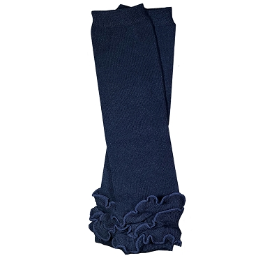 Navy Blue Triple Ruffle Leg Warmers