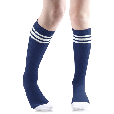 Navy Blue with White Stripes Tube Socks