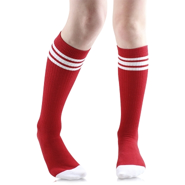 Red with White Stripes  Tube Socks