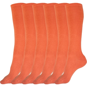 Solid Orange Knee High Socks - 3 pairs