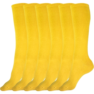 Solid Yellow Knee High Socks - 3 pairs