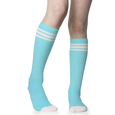 Turquoise Tube Socks with White Stripes