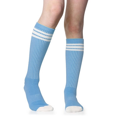 Columbia Blue with White Stripes Tube Socks
