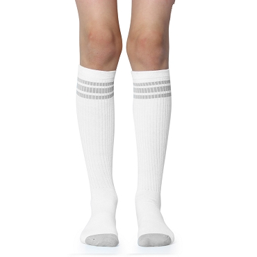White with Gray Stripes Tube Socks