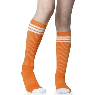 Orange with White Stripes Tube Socks