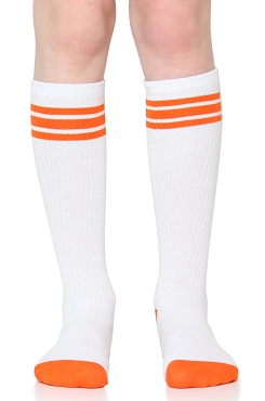 White with Orange Stripes Tube Socks