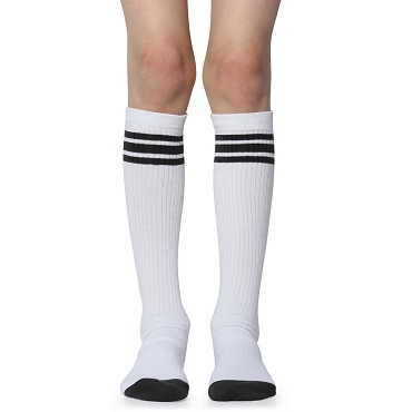 White with Black Stripes Tube Socks
