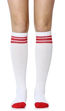 White with Red Stripes Tube Socks