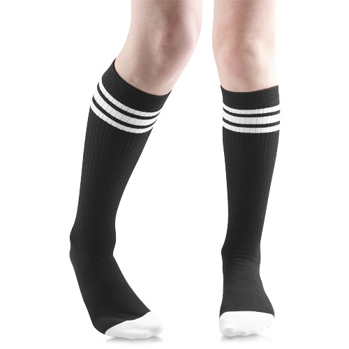 Black Tube Socks with White Stripes