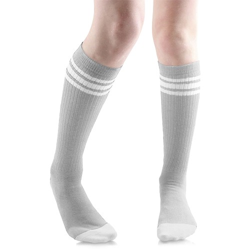 Gray with White Stripes Tube Socks