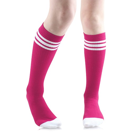 Hot Pink Tube Socks with White Stripes