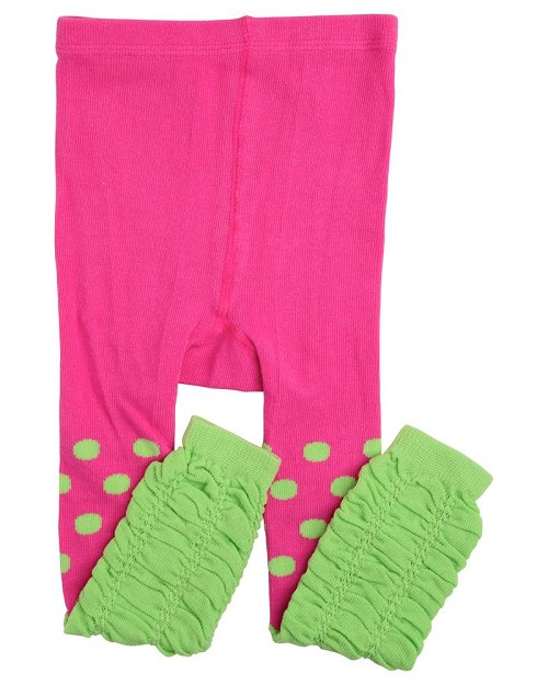Hot Pink and Lime Footless Tights