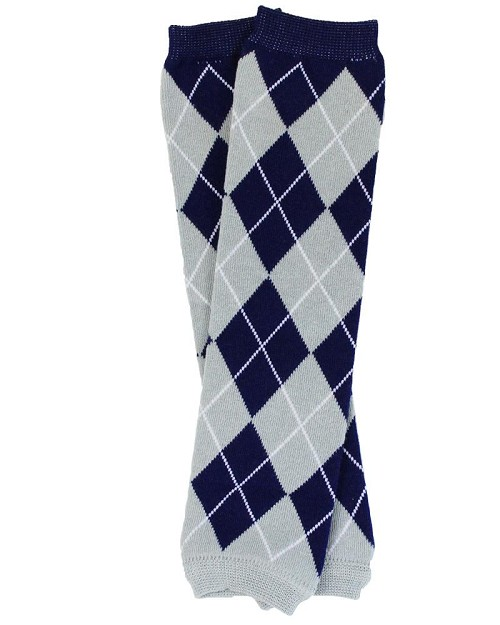 Team Blue and Gray Argyle Leg Warmers