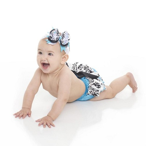 Turquoise Damask Satin Diaper Cover