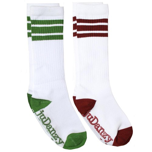White with Forest Green and Maroon Stripes Tube Socks