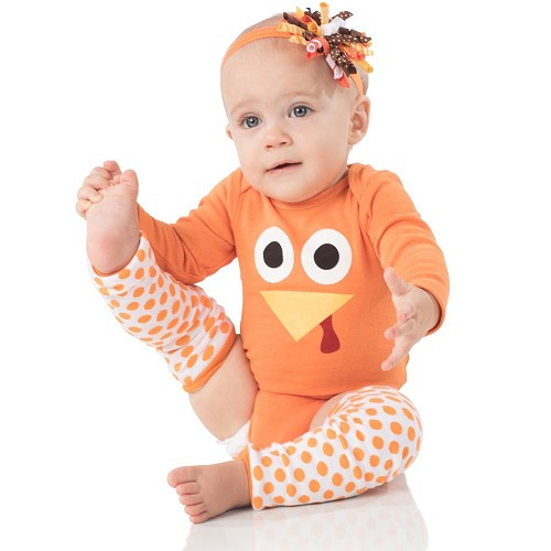 White with Orange Dots Leg Warmers