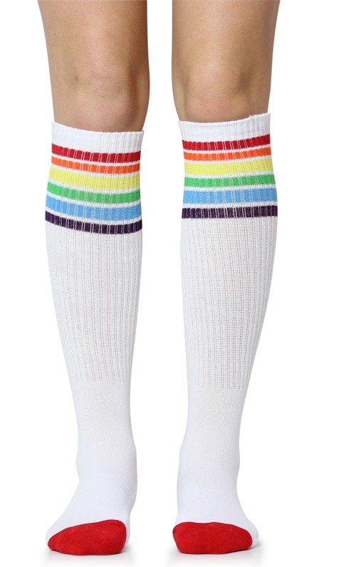 White with Classic Rainbow Stripes Tube Socks